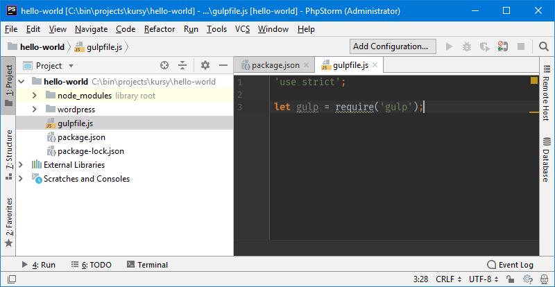 Gulp - tworzymy plik konfiguracyjny