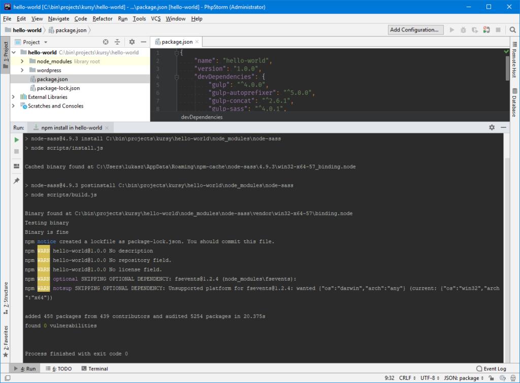 NPM - instalacja pakietów przez phpStorm