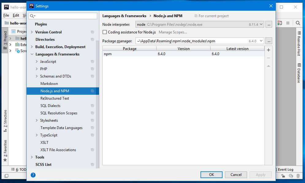 Integracja NPM z phpStorm