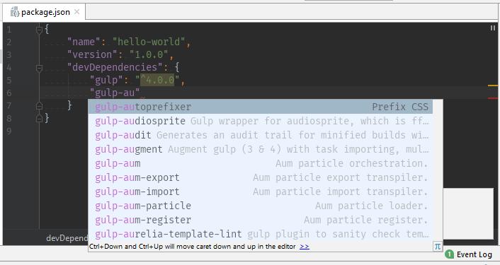 NPM - phpStorm podpowiada nazwę pakietu