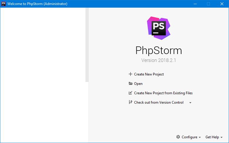 phpStorm - wybieramy projekt z istniejących plików
