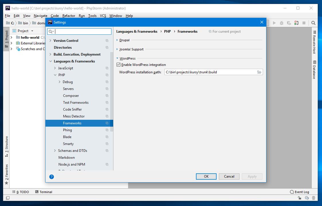 phpStorm - włączanie integracji z WordPress