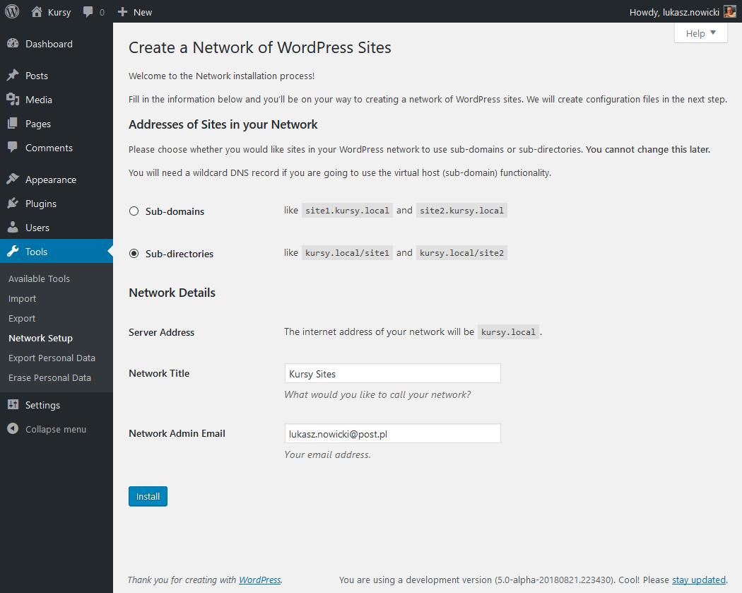 WordPress - ustawienia sieci witryn