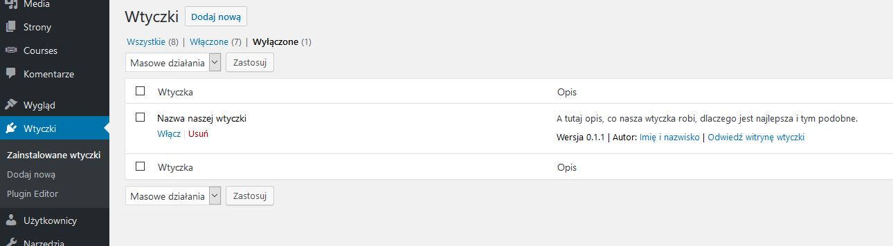 Wtyczka WordPress - na liście wtyczek w kokpicie