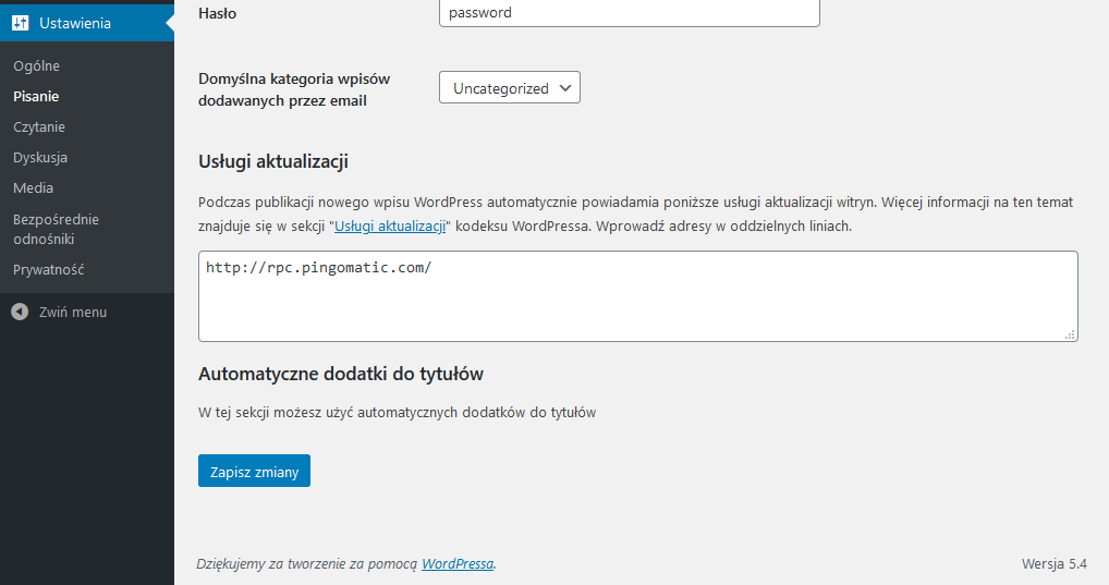 Sekcja Settings API WordPress w praktyce