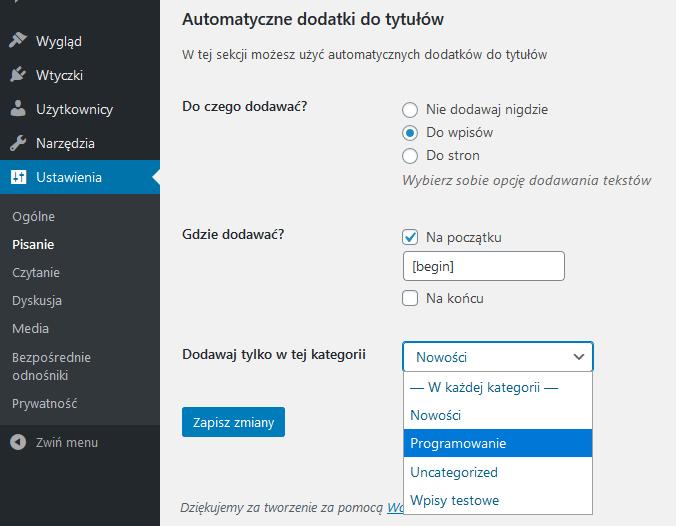 Własne pola, własna sekcja, Settings API WordPress