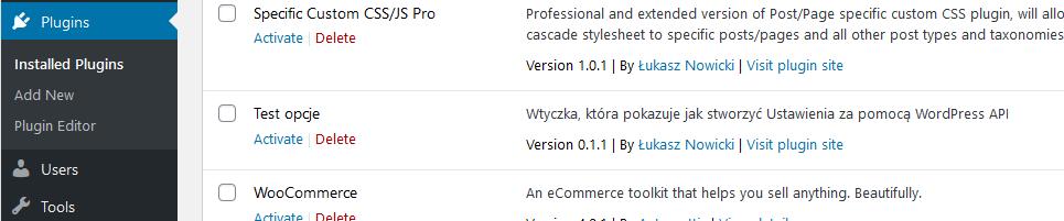 Wtyczka pokazująca WordPress Settings API na liście