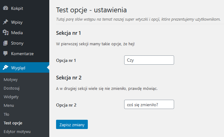 test opcje w menu wyglad settings api wordpress