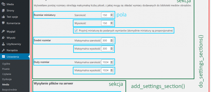 Pola, sekcje, strony - WordPress Settings API